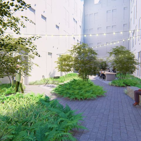 Rendering of a courtyard in new apartments for rent in Wilmington, DE with lush landscaping
