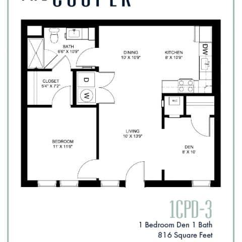 One Bedroom with Den Floor Plan The Cooper