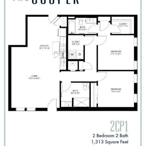 Two Bedroom Floor Plan The Cooper