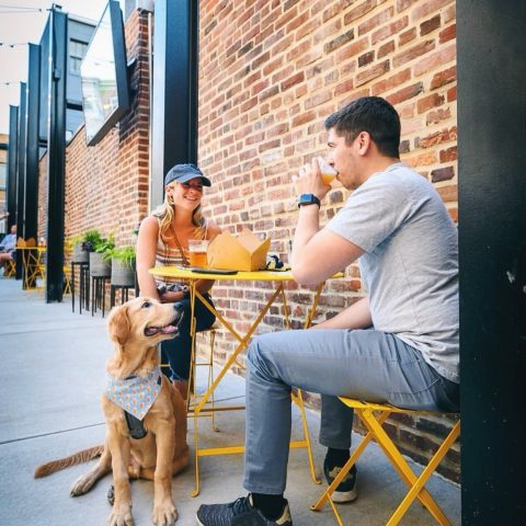 Couple enjoying a meal at outdoor table with their golden retriever puppy