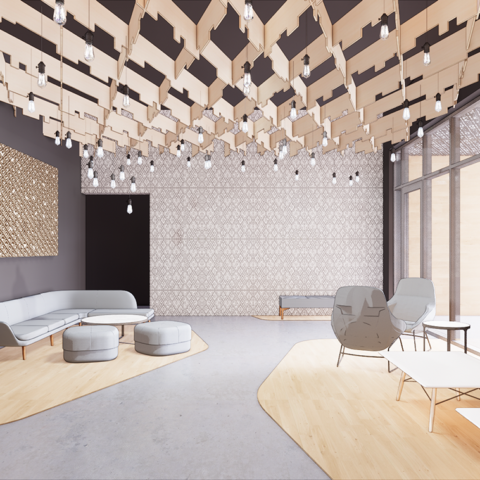 Rendering of The Cooper lobby with gray furniture and contemporary hanging lights
