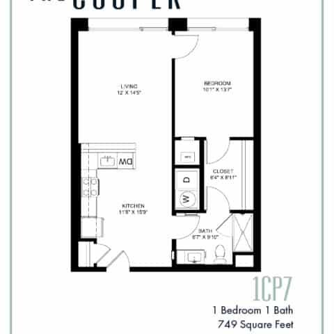 One Bedroom Floor Plan The Cooper