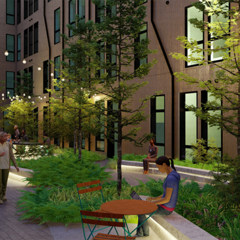 Rendering of an outdoor courtyard at the cooper with lush greenery, cafe tables, and hanging lights